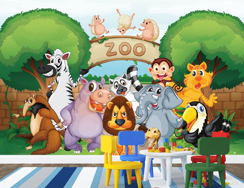 Jungle Wall Mural Zoo Animals Cartoon zoo animals