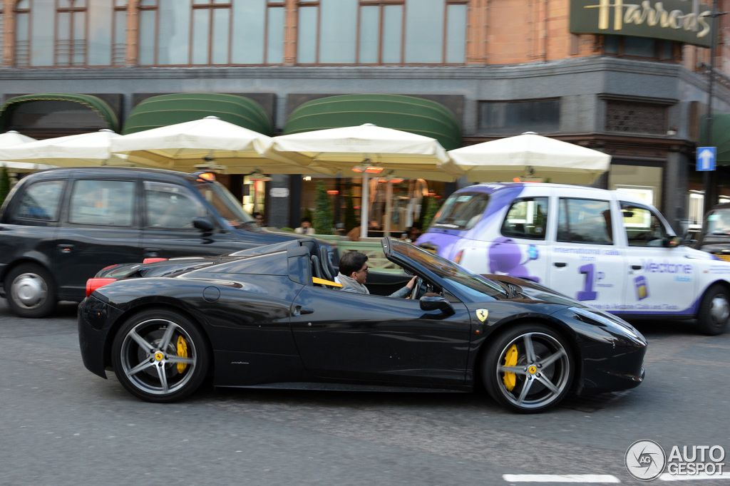 ferrari 458 spider black with yellow calipers and interior