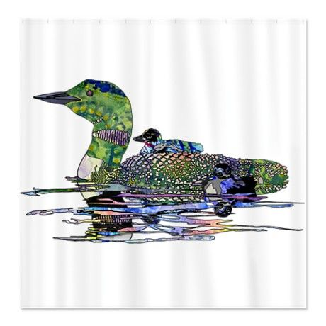 Colorful Loon Shower Curtain Loons Birds