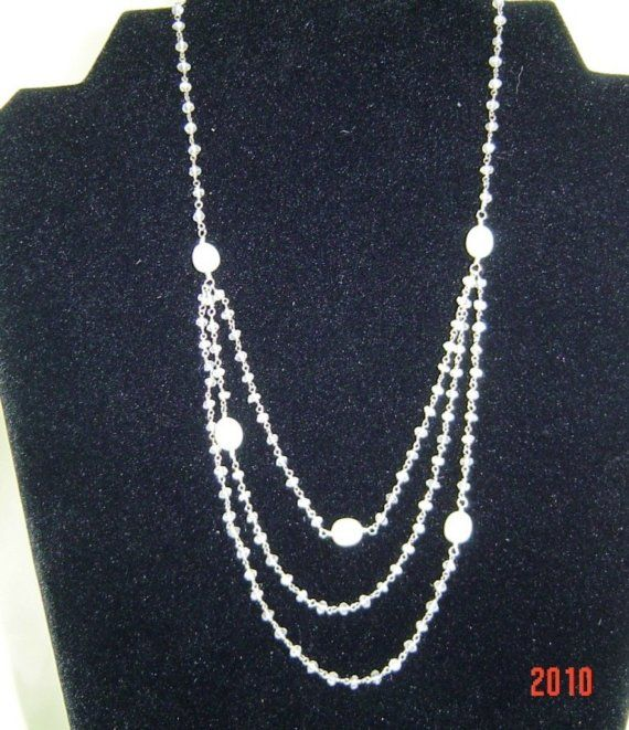 Moonstone with large pearls triple strand necklace by BrioBaubles, $118.00
