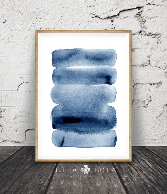 Watercolour wall art print abstract painting modern minimalist navy blue decor printable digital download large poster ink brush stroke