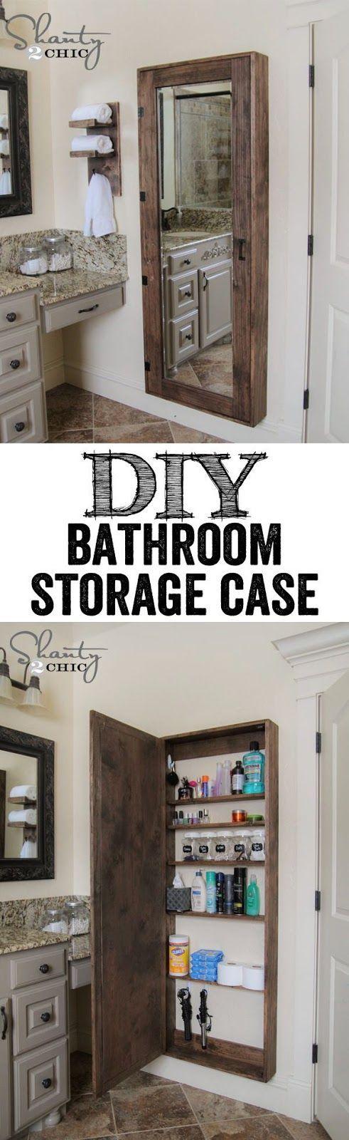 Half Bath   Idea Of Long Mirrored Storage Chest (much Prefer It Between  Studs)