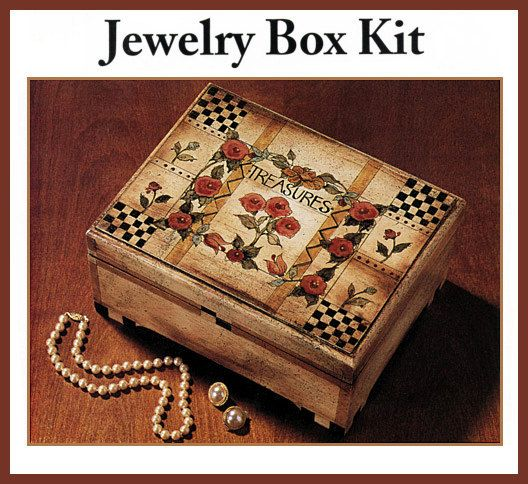 Primitive Folk Art DIY Wooden Jewelry Box Kit with Box Flower