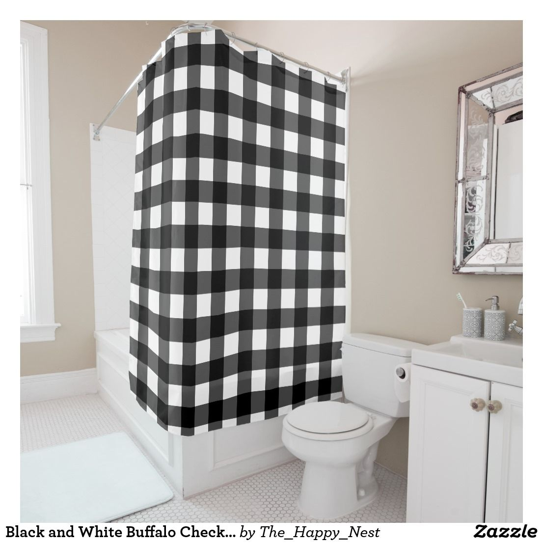 Black and White Buffalo Check Shower Curtain   Bath and Bedrooms