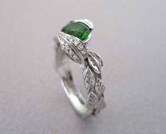 c85f297c7218c Diamond Leaves Engagement Ring, Emerald Leaf Engagement Ring, Green ...
