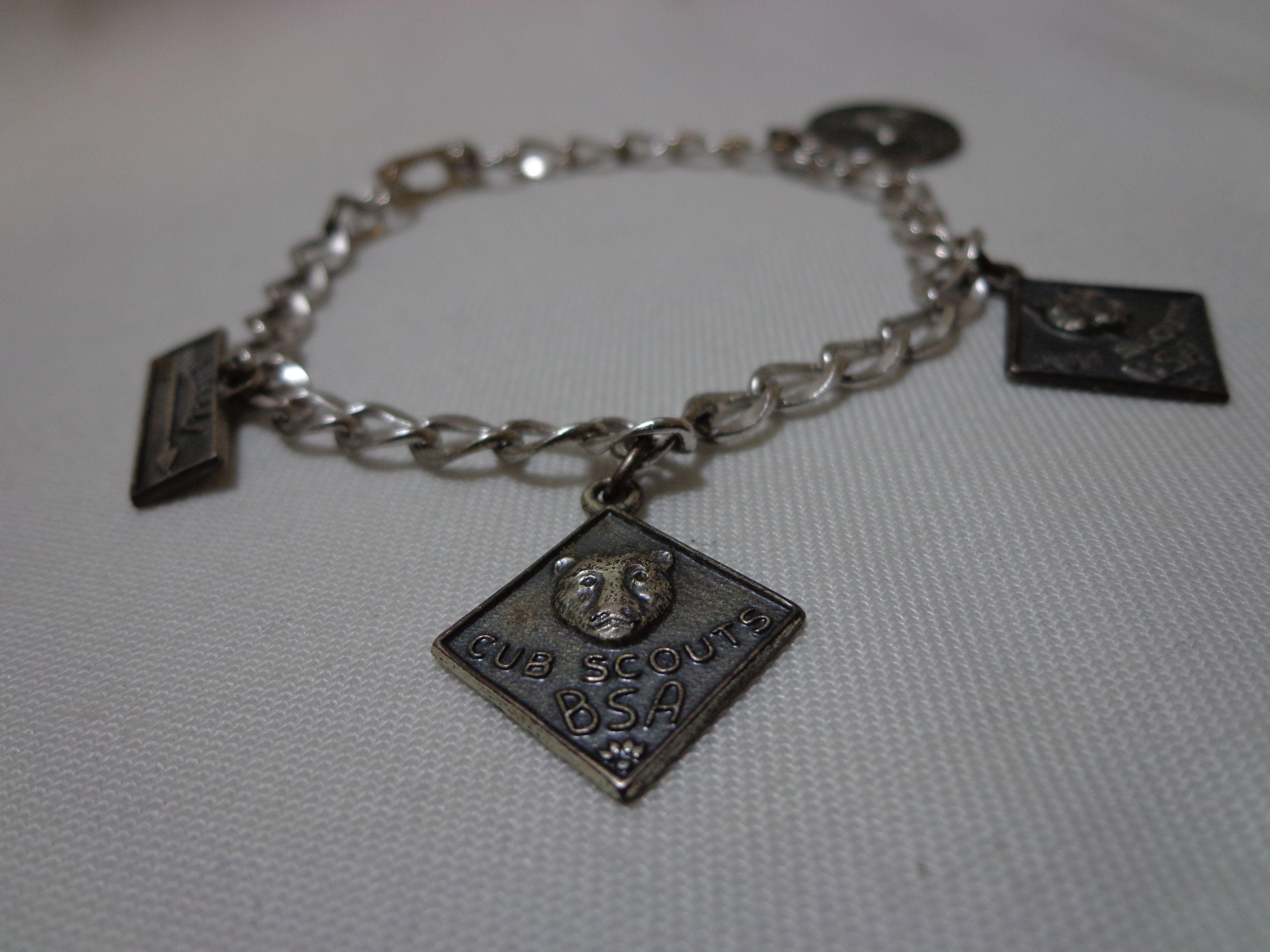 Vintage 1950s 925 Sterling Silver Boy Scout Charm Bracelet W 4 Charms