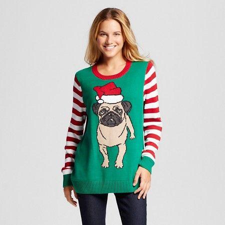 Womens Ugly Christmas Pug Pullover Ugly Christmas Sweater