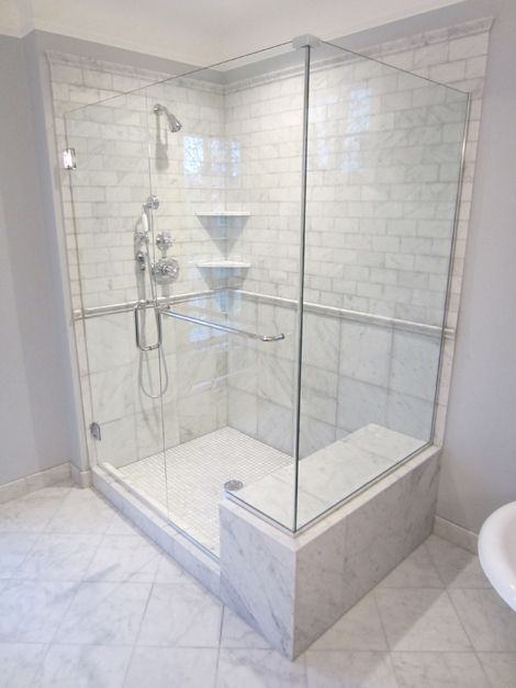Showers with seats new marble tiled shower with seat for Different bathroom ideas