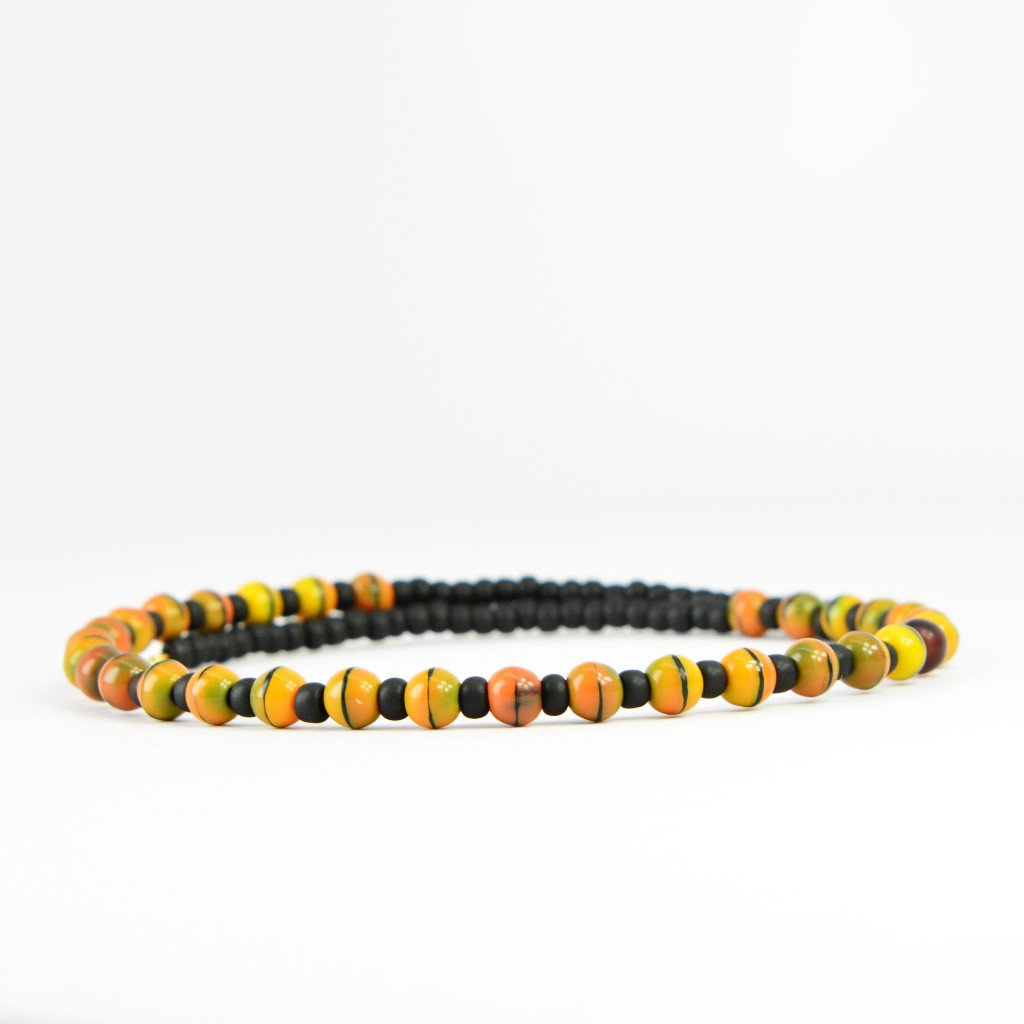 Where To Buy Memory Wire   Buy Orange And Black Striped Glass Beaded Memory Wire Choker At