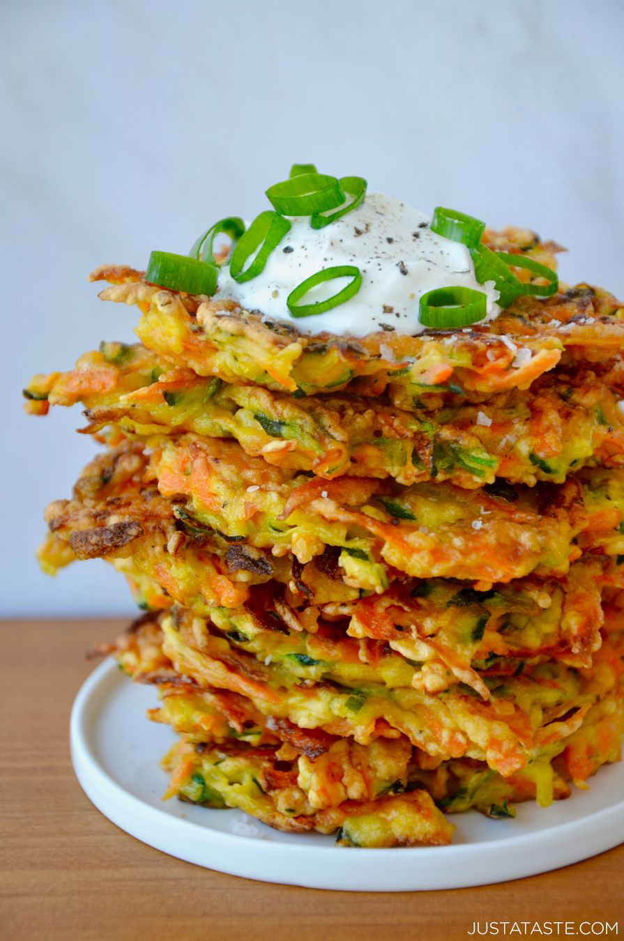 Sneak veggies into any meal with Quick and Crispy Vegetable Fritters that come together in minutes and pair perfectly with a cool dollop of sour cream or yogurt. @justataste