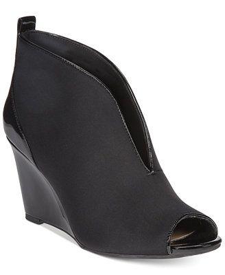 Wedges, Shoes, Black peep toe wedges
