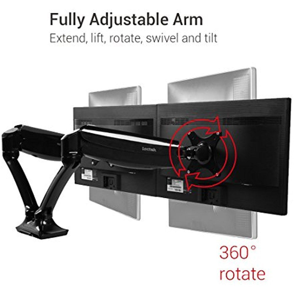 Dual Monitor Desk Mount Stand Full Motion Adjustable Swivel  Arm Gas Spring