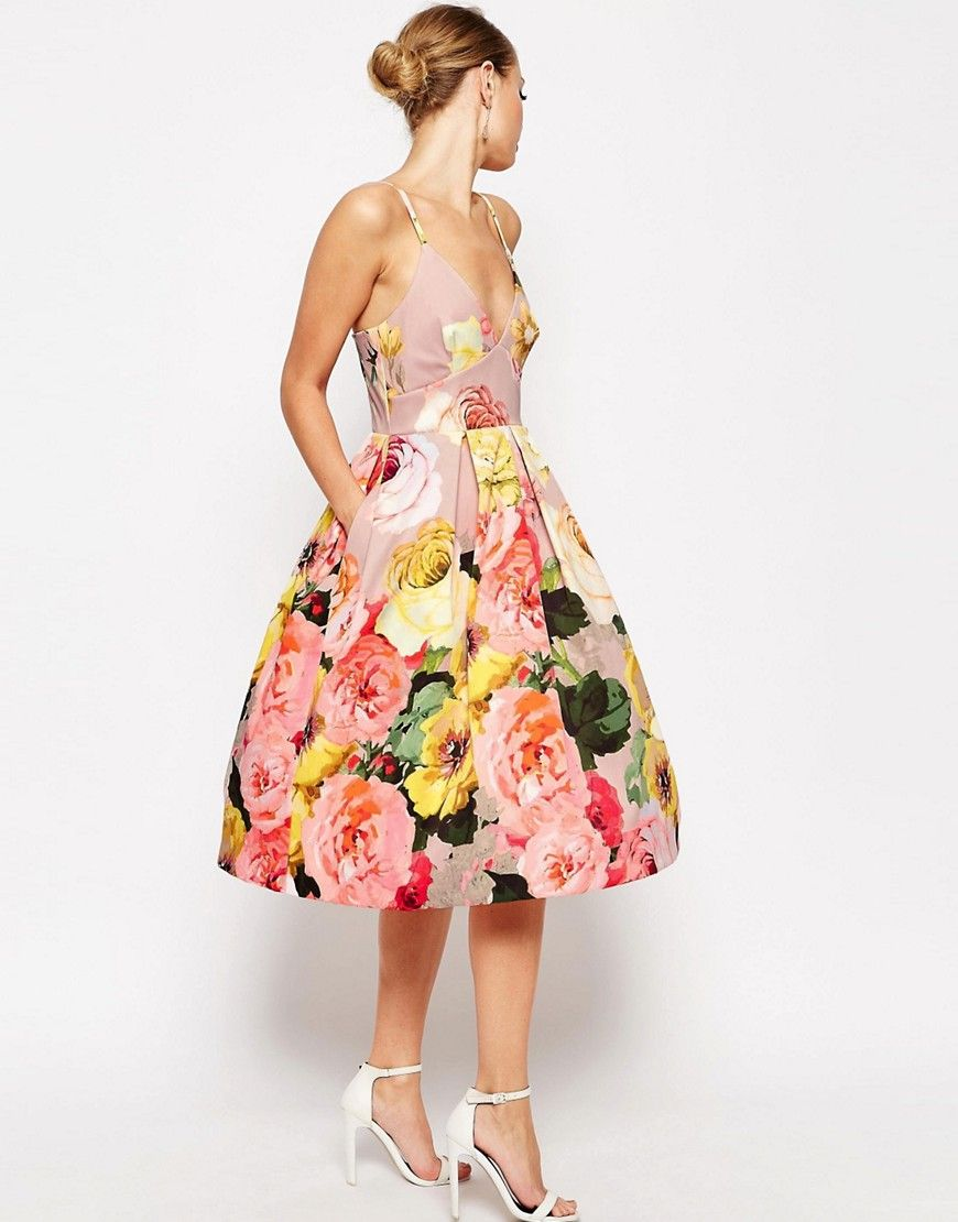 Image 4 of ASOS WEDDING Printed Pinny Midi Prom Dress | Clothes ...