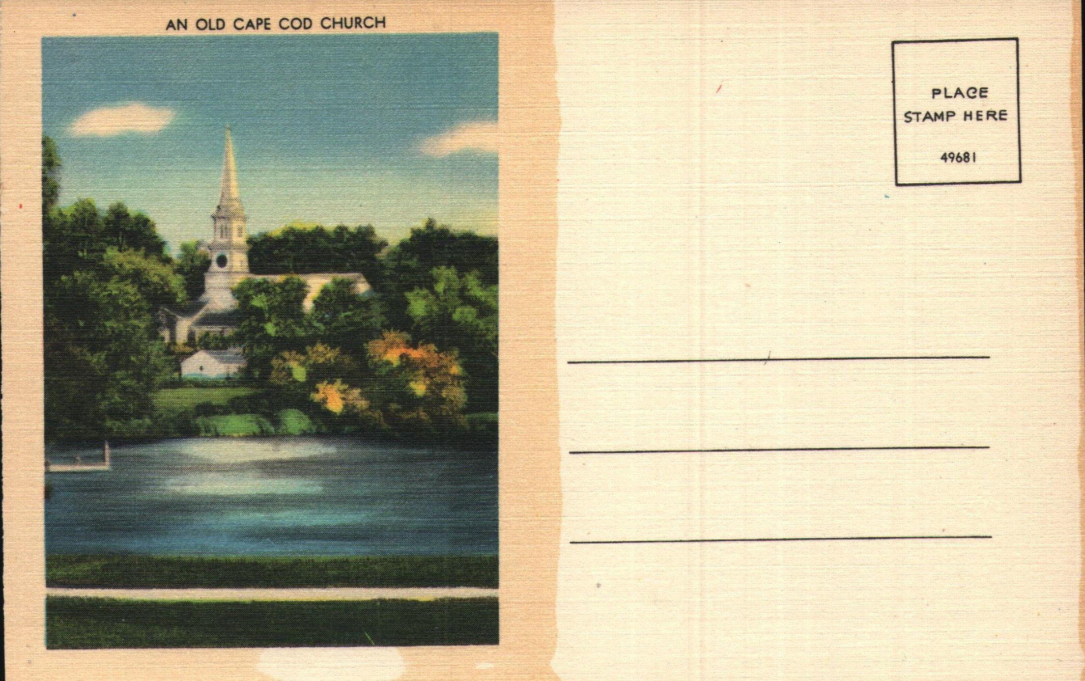 Vintage Linen Postcard An Old Cape Cod Church