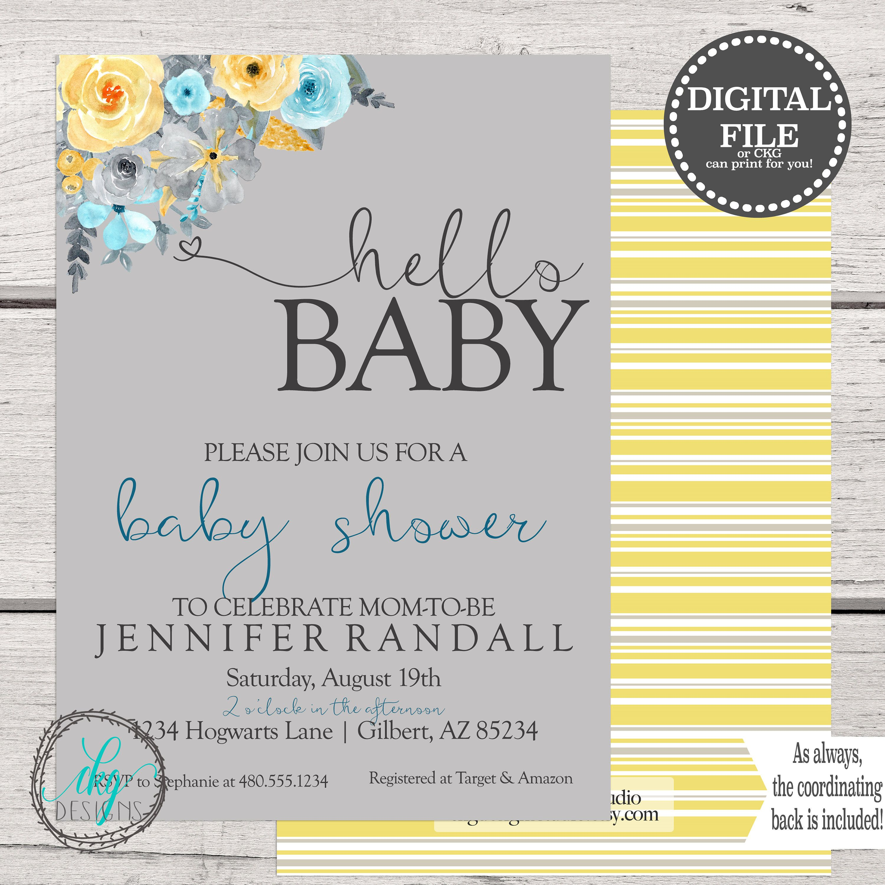Yellow and Blue Baby Shower Invitation, Floral Baby Shower ...