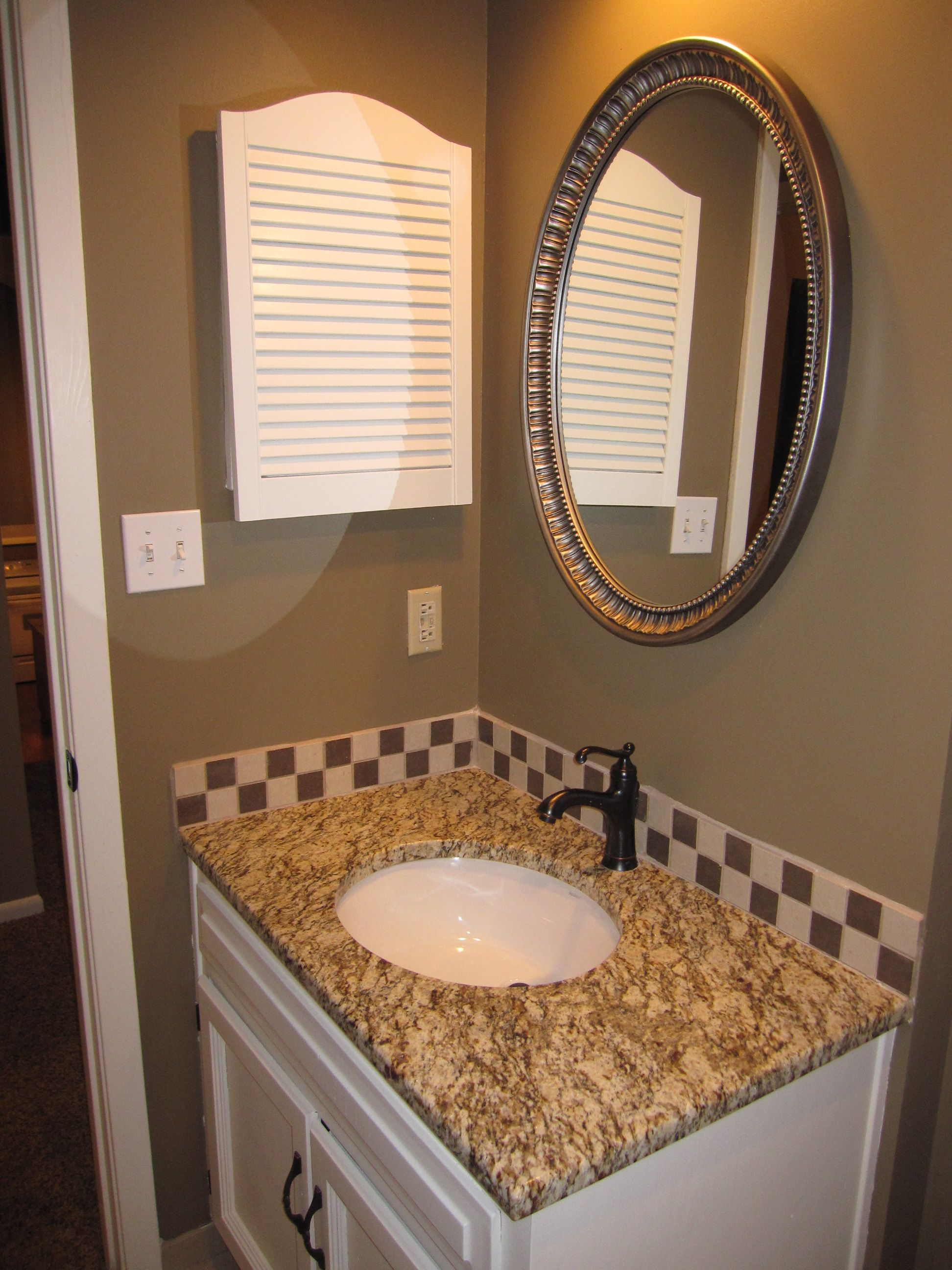 Hall Bath Antiqued Nickel Mirror Granite Oil Rubbed