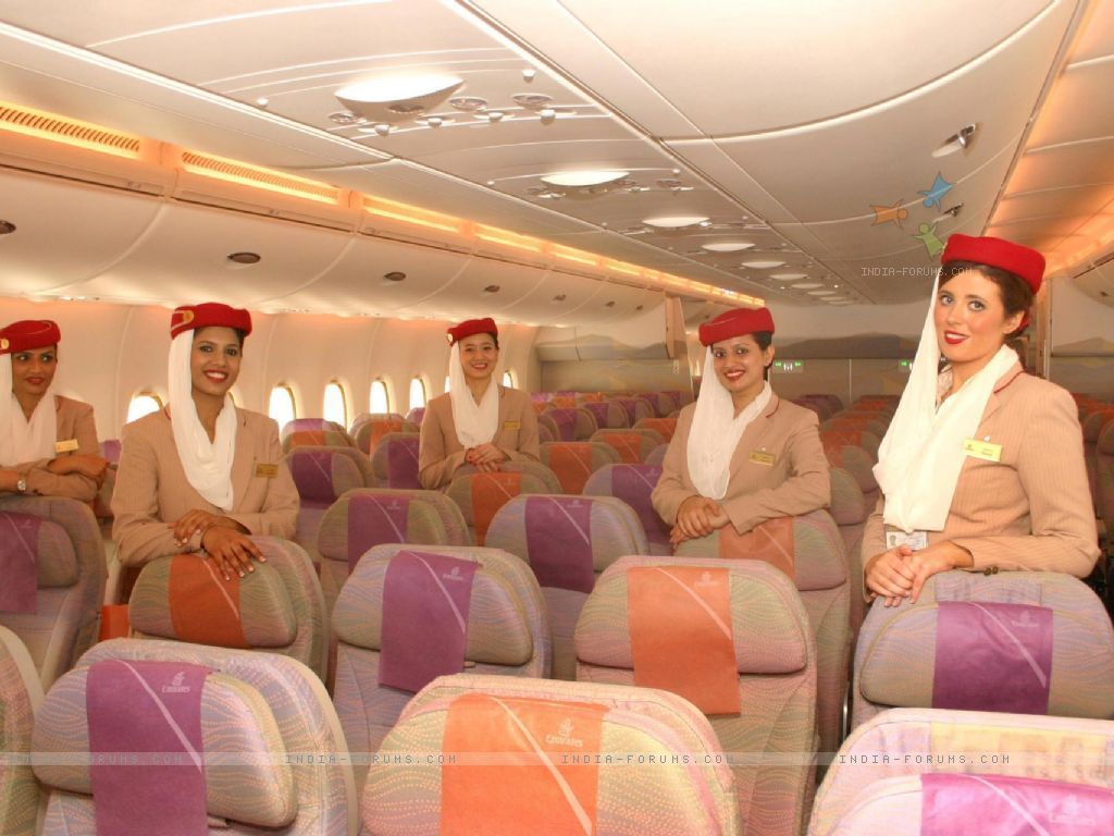 The Inside View Of Emirates Airbus A380 At The Terminal 3 Indira