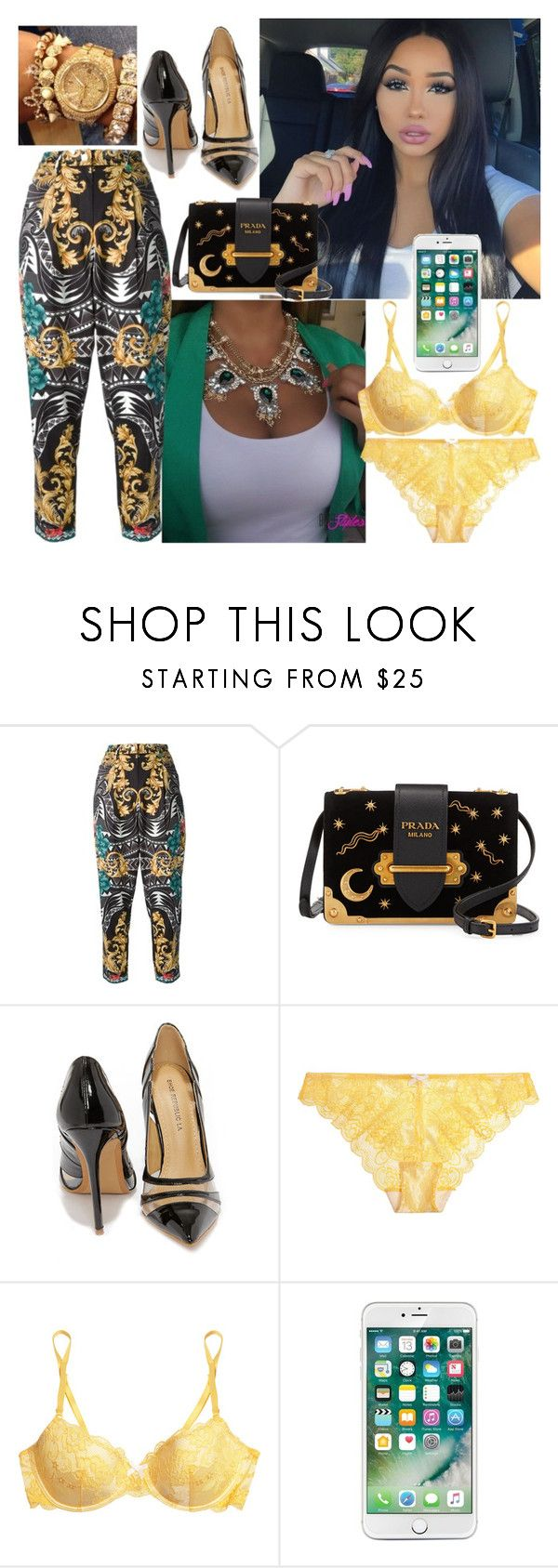 """""""To the Salon"""" by foreverlostinlove ❤ liked on Polyvore featuring Versace, Prada and Heidi Klum Intimates"""