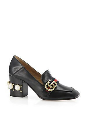 83972a4dbf4 Gucci Peyton Pearl-Heel Leather Loafers - Black - Size 39.5 (9.5 ...