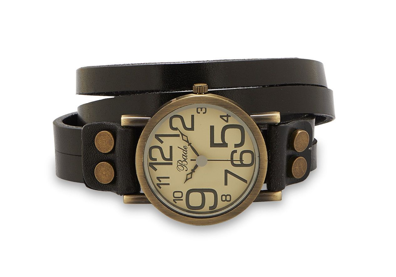 Black Leather Bade Wrap Watch Oversized Numbers Antique Bronze Look NEW - Fun and fashionable wrap watches!