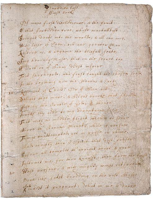 Paradise Lost Book I Manuscript Ca 1665 John Milton Commonplace Essay On