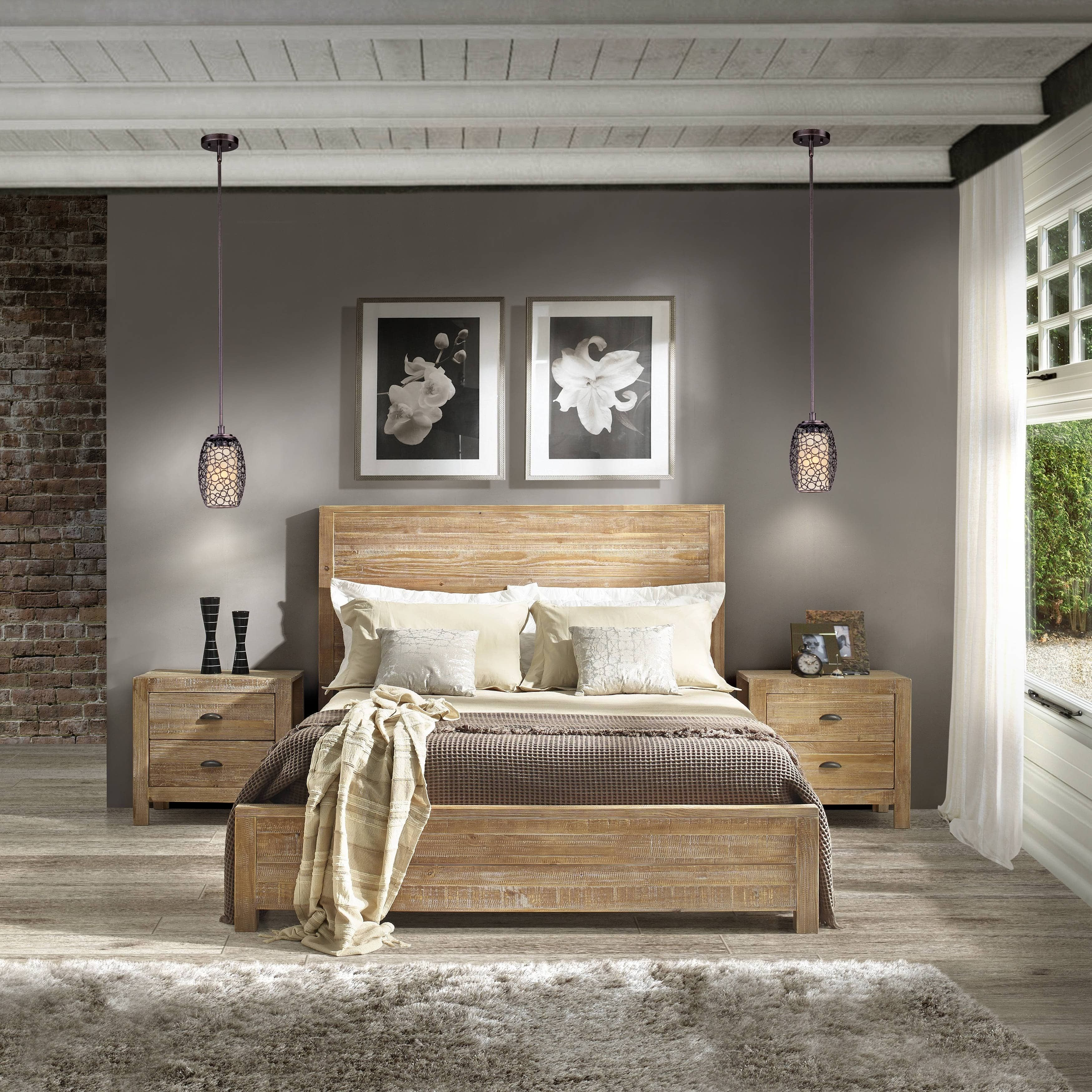 Grain Wood Furniture Montauk Full Size Solid Wood Panel Bed (Driftwood  (Brown))