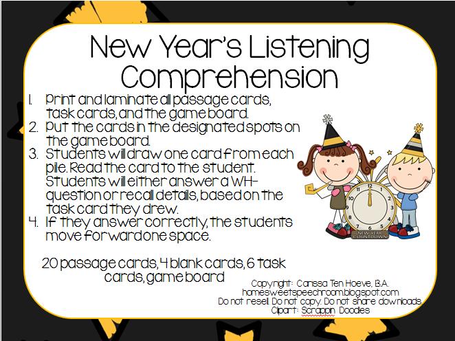 New Year\'s Listening Comprehension *Freebie* | Speech-Language ...