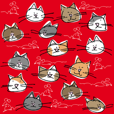 kitties and mice fabric by zapi on Spoonflower - custom fabric