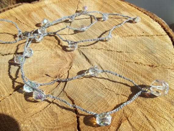 Crocheted Vintage Austrian Crystal Necklace by WanderingSaint, $50.00