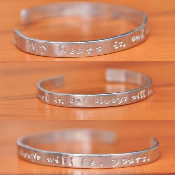 My Heart Is, And Always Will Be, Yours open ended bangle made of Pure Aluminium Valentine's Day Gift