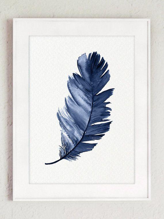 Royal Blue Feather Kunstdruck Set Aus 2 Federn. Leinwand Minimalistischen  Aquarell Abstrakte Wohnzimmer Dekor