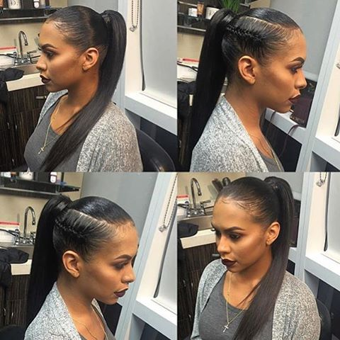 Straight Ponytail With Side Braid With Images High Ponytail
