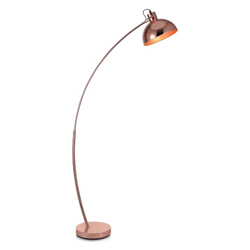 Versanora Arco Arc Floor Lamp with Shade, Rose Gold