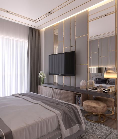 Bedroom In Contemporary Style On Behance: Modern Style Bedroom *Dubai Project On Behance (With