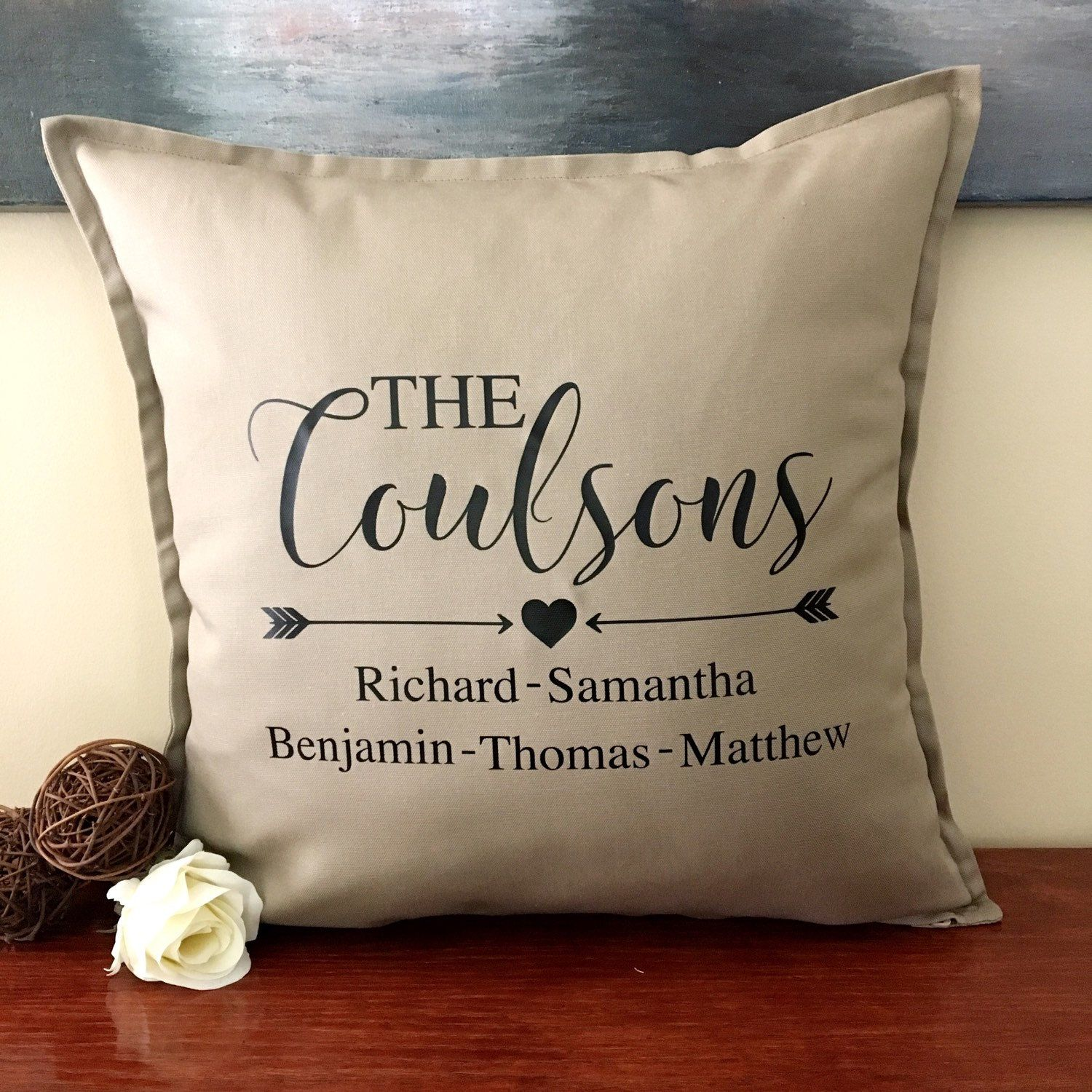 Personalized Pillow Cover  Family Name  Unique Gifts