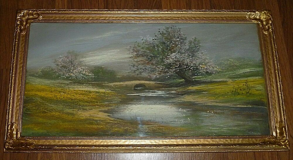 Large Antique Oil Pastel Painting Wood Gesso Plaster Frame 15 X 27 12 X 24 Oil Pastel Paintings Painting Vintage Landscape