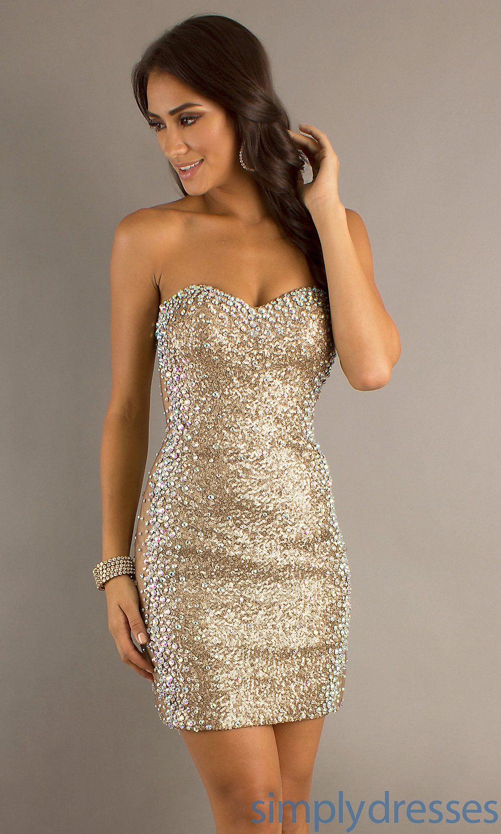 f057542f85f4 Dress, Short Strapless Sequin Dress with Sheer Sides - Simply Dresses