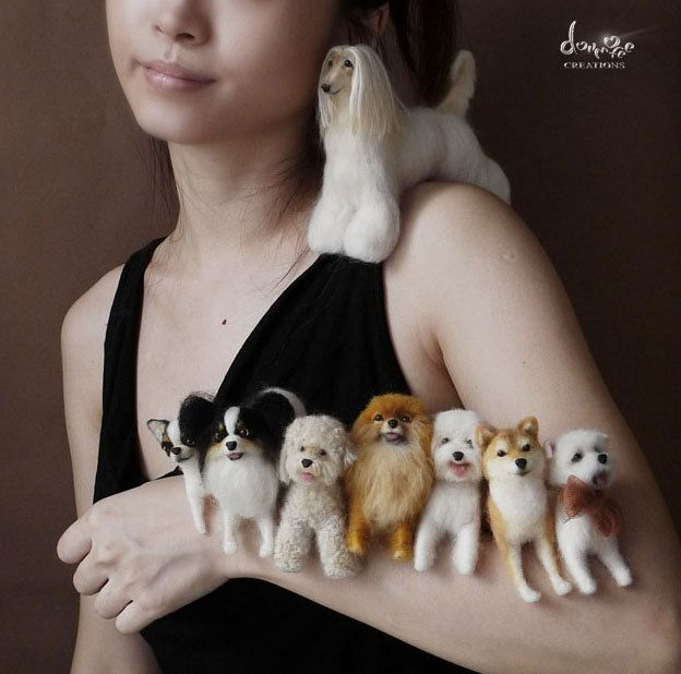 Love the Furkids of sculpture needle felted Dog, 3 to 4 inches. $138.00, via Etsy.