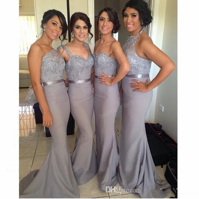 Wholesale Long Mermaid Bridesmaid Dress Gray with One Shoulder Double Straps  Cap Sleeves  Sweetheart Halter Neck Lace Top Sequins Wedding Party Dress 12254cd84a33