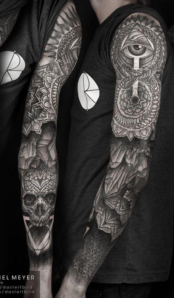 9ad3ac914e396 Mandala with skull full sleeve tattoo for men - Full sleeved mandala tattoo.  The tattoo