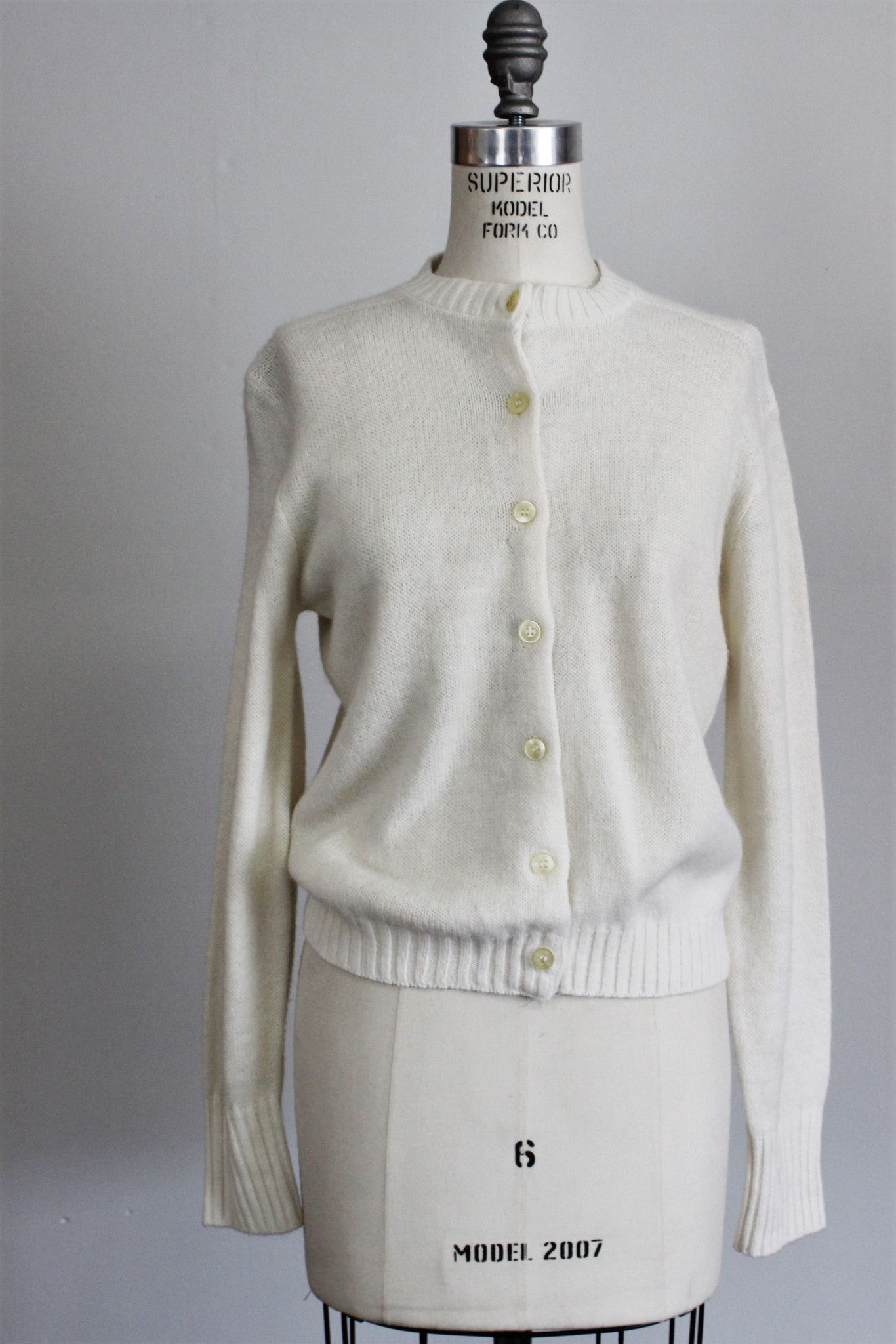 Vintage 1960s White Knit Cardigan Sweater / 60s Joyce Lane | Products