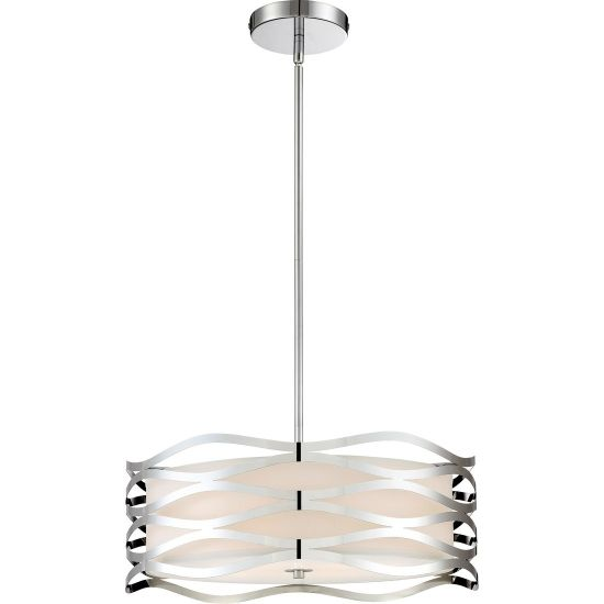 Quoizel Platinum Mystic 4-Light Pendant in Polished Chrome: Did you know that this fixture was actually designed by a Quoizel intern? Great work, Carter! The wavy laser-cut metal exterior shade offers movement and visual intrigue to this drum shade design.