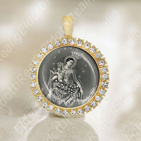 Our Lady Pompeii Catholic Medal. Virgin Mary Pendant. Our Lady of Rosary Jewelry Black and White #rosaryjewelry