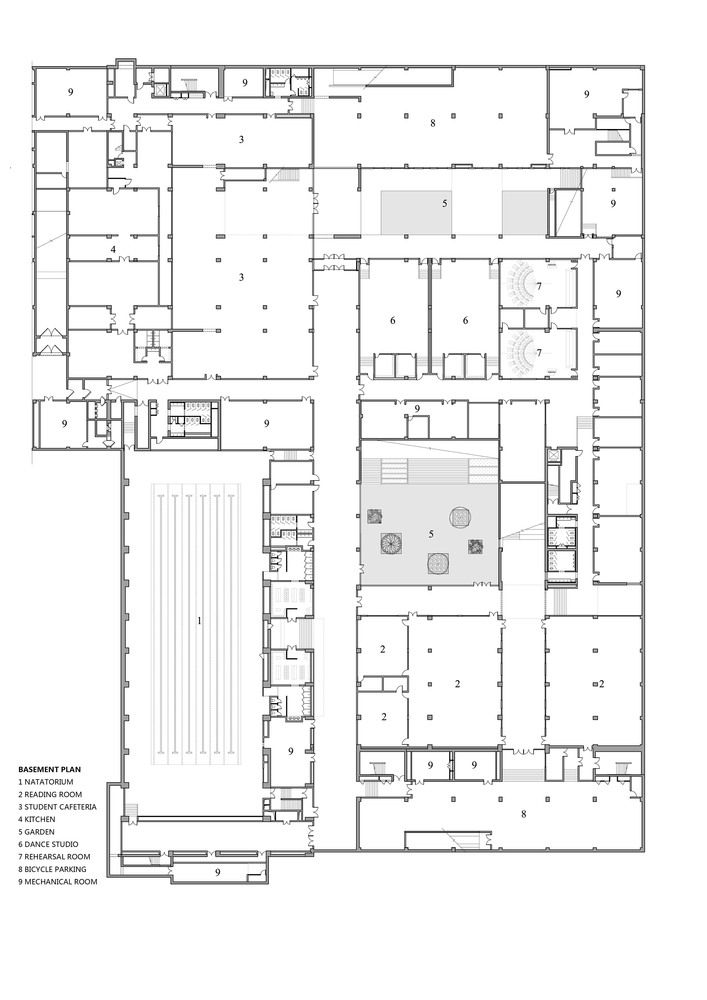 Gallery Of School With An Open Space Beijing Institute Of Architectural Design 6th Division 29 Basement Flooring Basement Floor Plans School Floor Plan