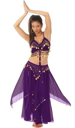 19ccce39f 2-Piece Belly Dancer Costume with Coins - DARK PURPLE PLUM/ GOLD ...