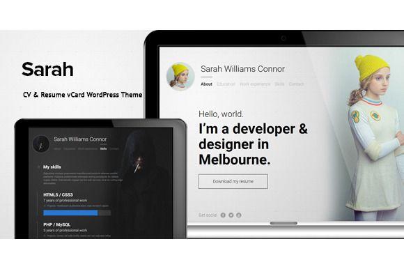 Sarah - CV  Resume vCard WordPress Wordpress and Website themes
