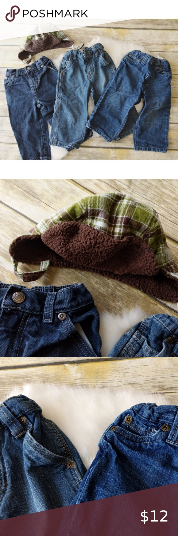 Baby Boy Jeans lot with hat size 18m. #0943 Baby Boy Jeans lot with hat size 18m Wonder Kids Carpenter and relaxed fit Soma carpenter jeans Gymboree hat, size 12-18m Lighty worn Wonderkids Bottoms Jeans