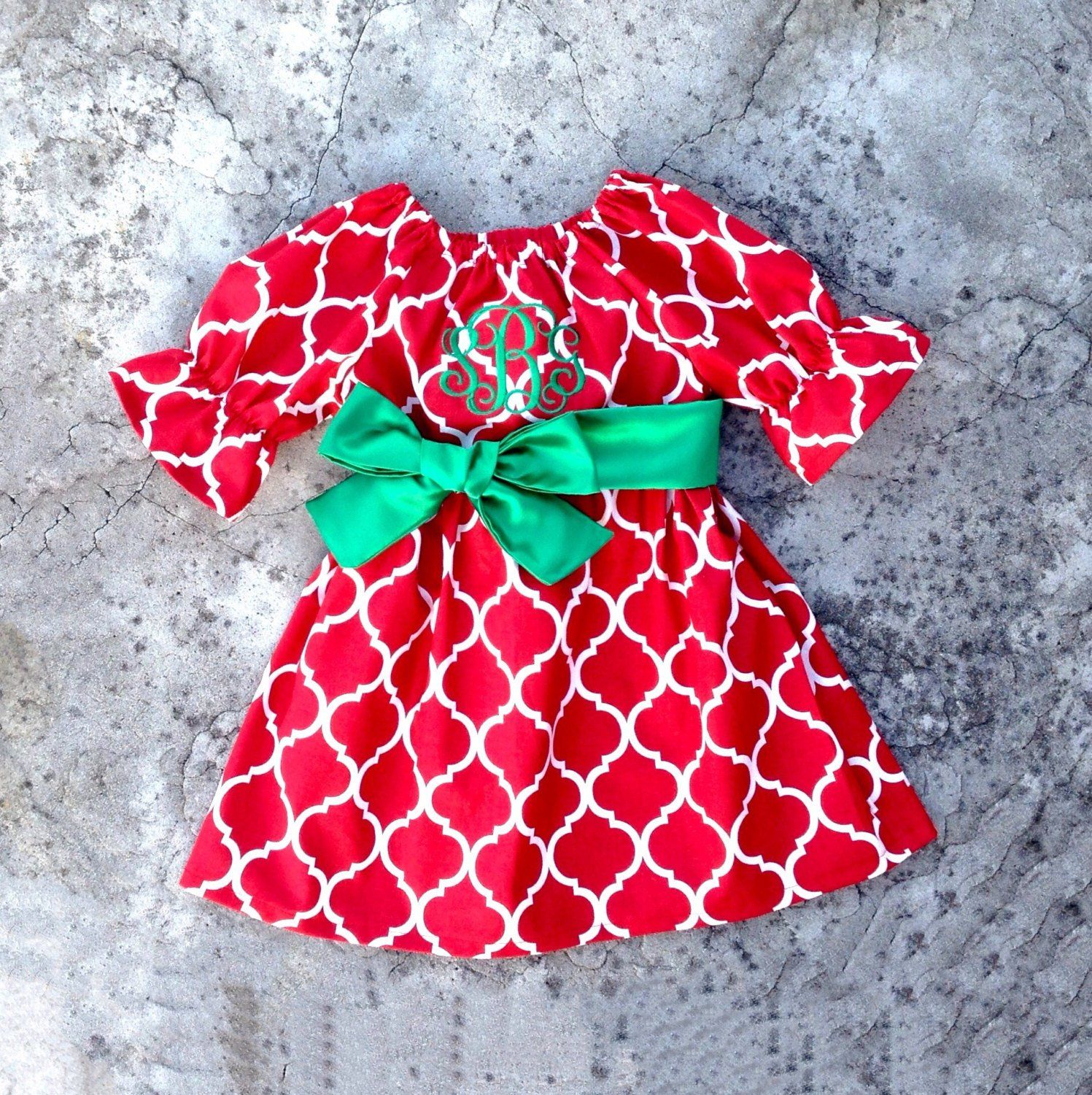 monogram Girls christmas outfit baby girl christmas dress toddler