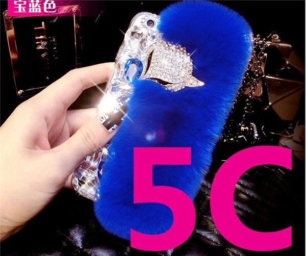 Promotions! Luxury Bling Warm Soft Beaver Rabbit Fur Hair phone cases for iphone 5C/6/6S/6Plus/6splus protective Phone covers