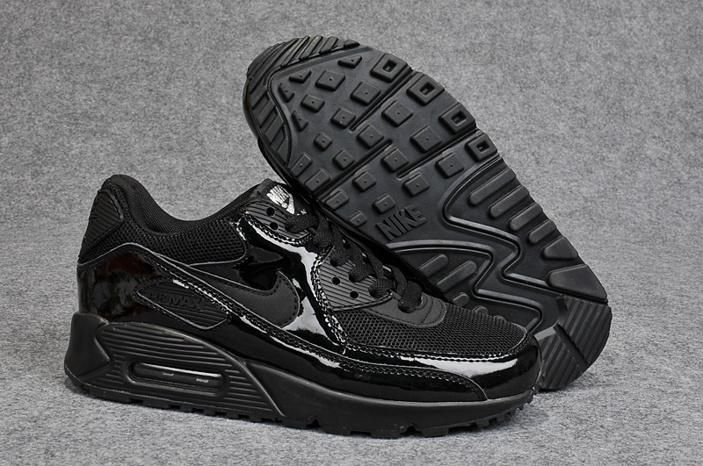 Nike Air Max 90 Womens Shoes All Black Leather Special 0